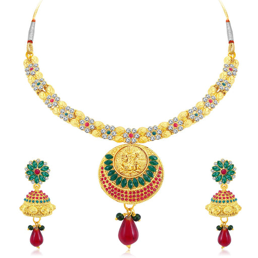 Sukkhi Gorgeous Temple Gold Plated AD Collar Necklace Set For Women