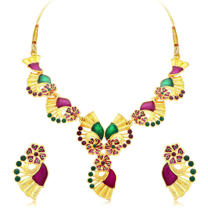 Sukkhi Glamorous Gold Plated Collar Necklace Set For Women