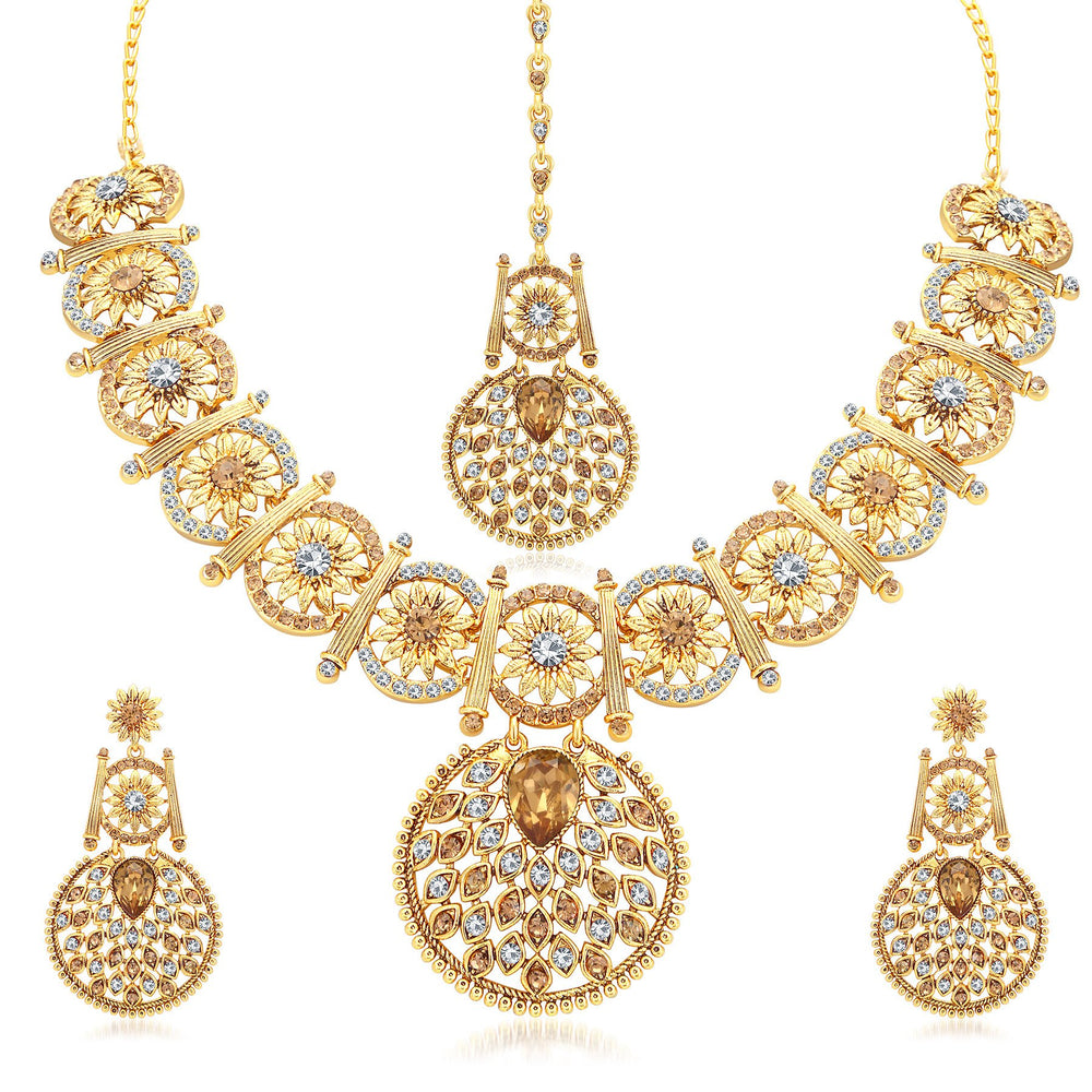 Sukkhi Elegant Gold Plated AD With LCT Stone Collar Necklace Set For Women