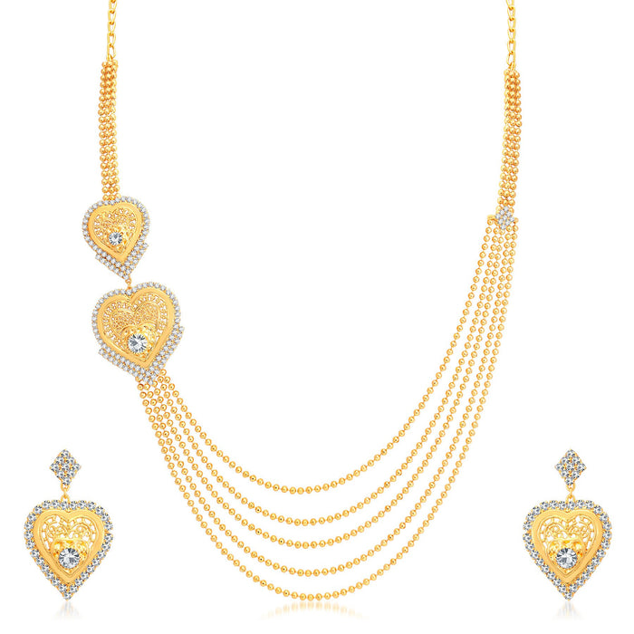 Sukkhi Sublime 5 String Gold Plated AD Long Haram Heart Shape Necklace Set For Women