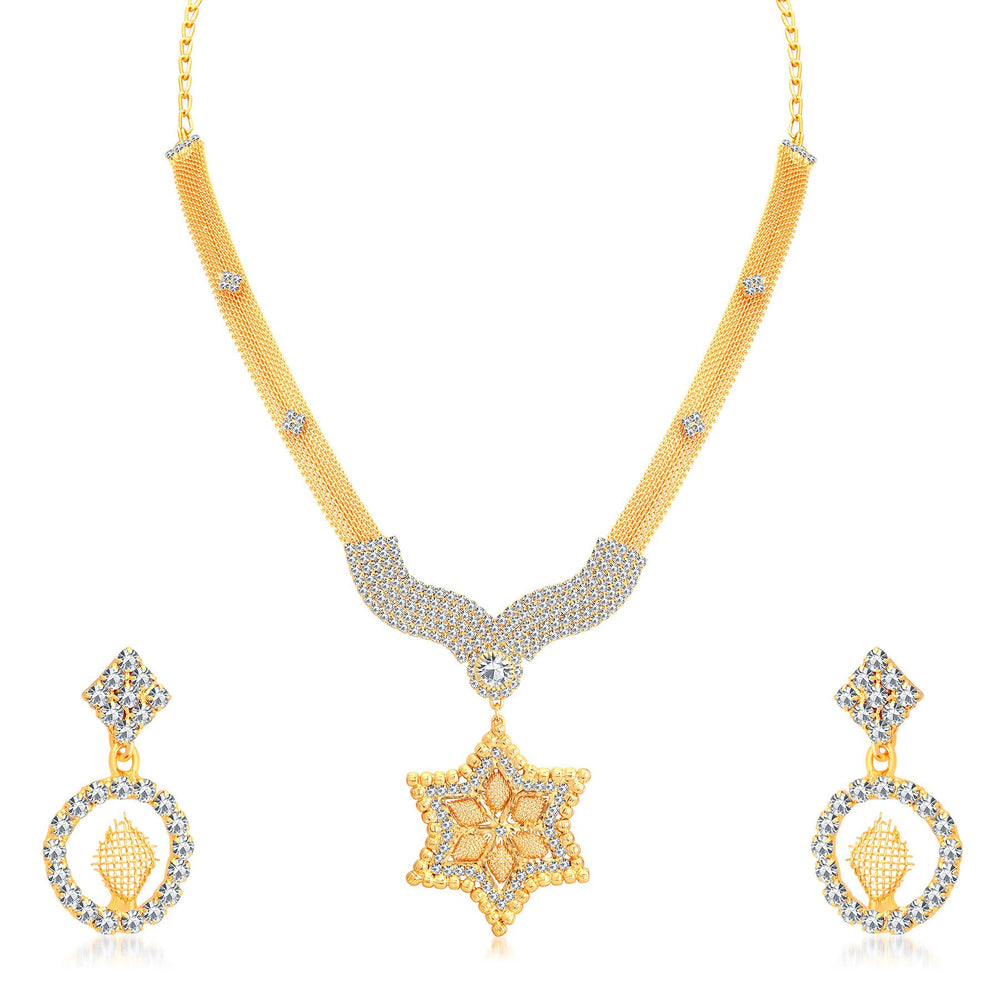 Sukkhi Marvellous Gold Plated AD Collar Necklace Set For Women