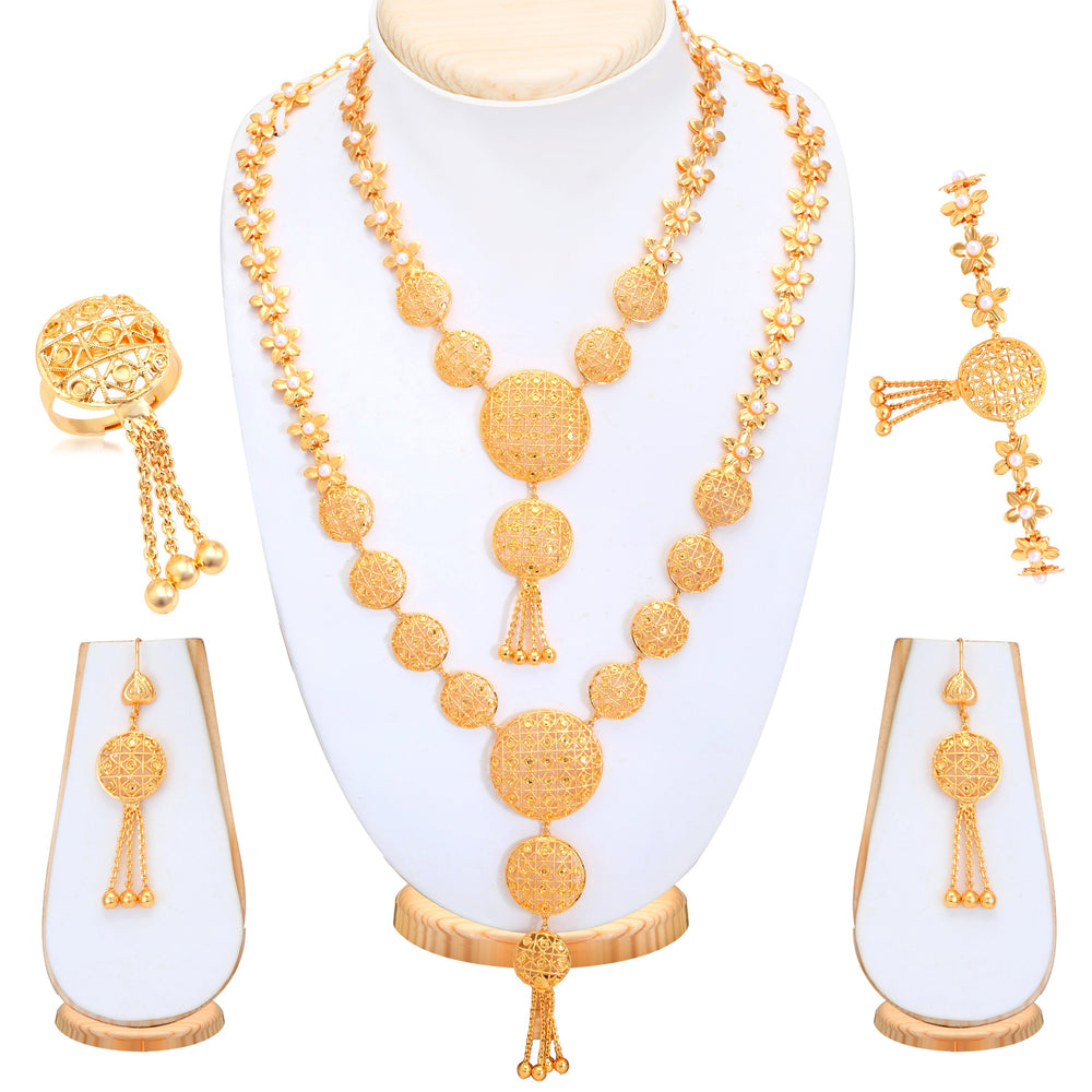 Sukkhi Gorgeous Gold Plated Bridal Necklace Set For Women
