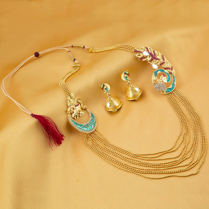 Sukkhi Incredible 10 String Gold Plated Radha Krishna Necklace Set For Women