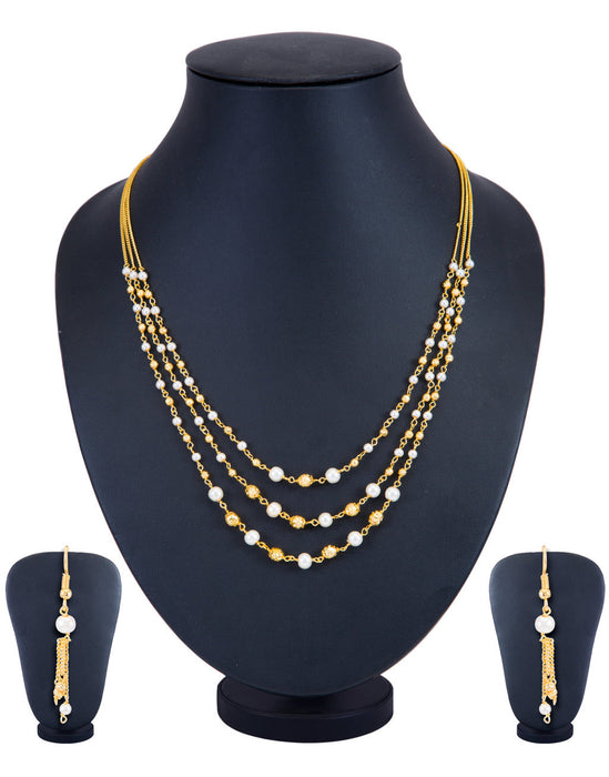 Sukkhi Modern 3 String Gold Plated Necklace Set for Women