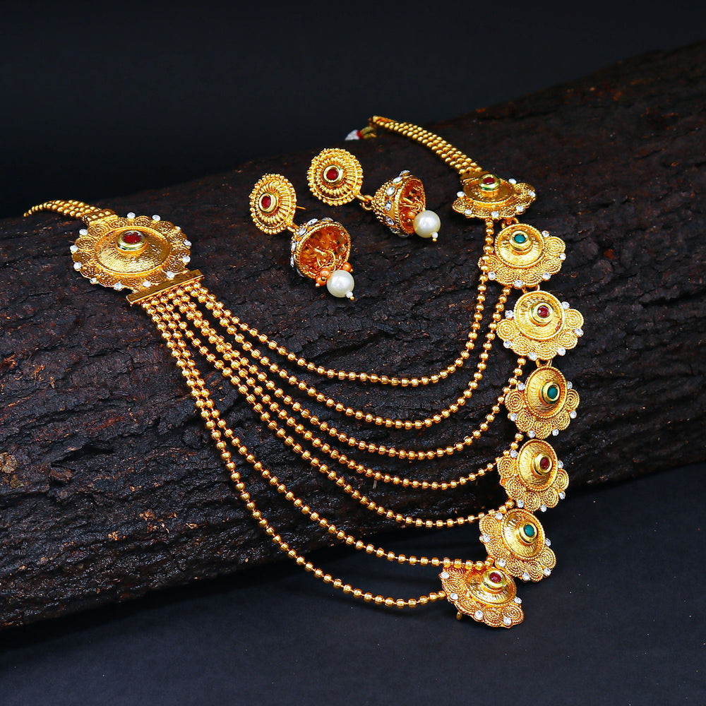 Sukkhi Eye-catchy Jalebi Design 7 String Gold Plated Necklace Set