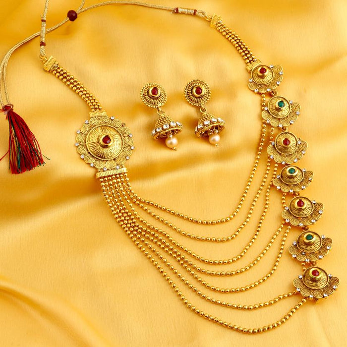 Sukkhi Alluring Jalebi Design 7 String Gold Plated Necklace Set