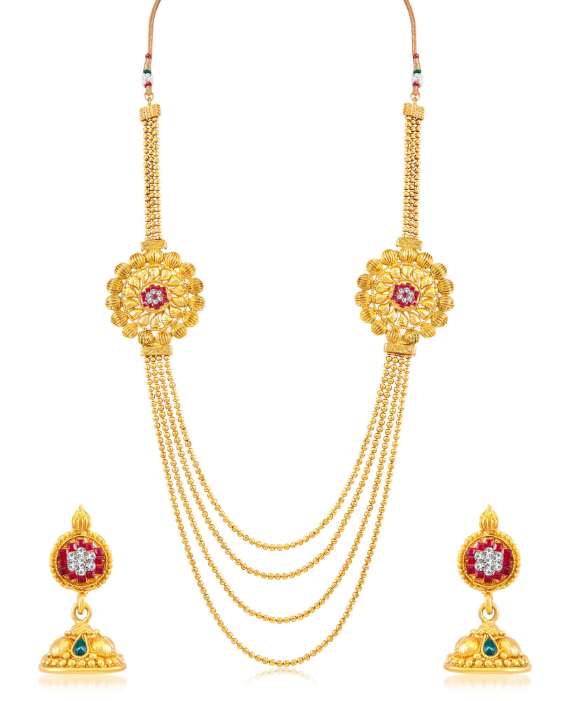 Sukkhi Excellent Gold Plated 4 String Necklace Set for women