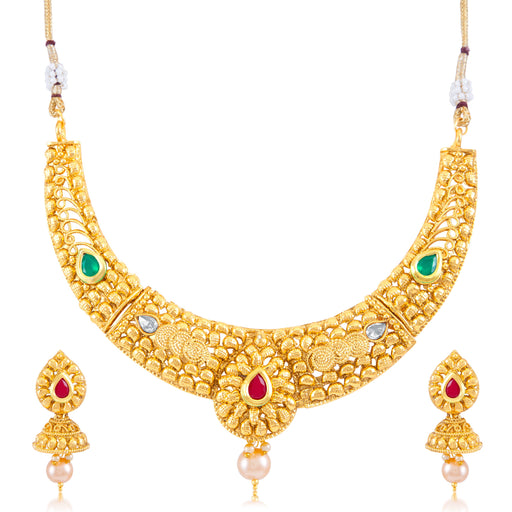 Sukkhi Classic Gold Plated Choker Necklace Set for women