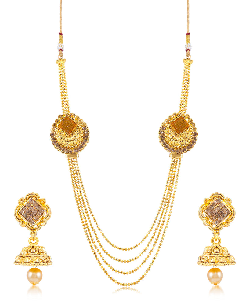 Sukkhi Classic 4 String Gold Plated Necklace set for women
