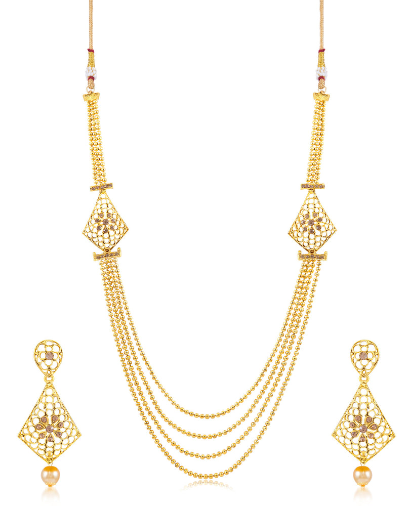 Sukkhi Amazing 4 String neted Gold Plated Necklace set for women