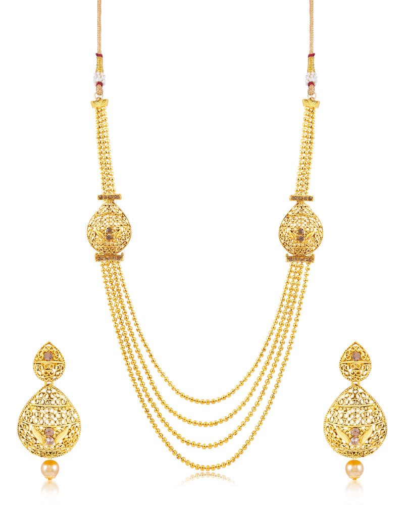 Sukkhi Alluring Fliligree 4 String Gold Plated Necklace set for women
