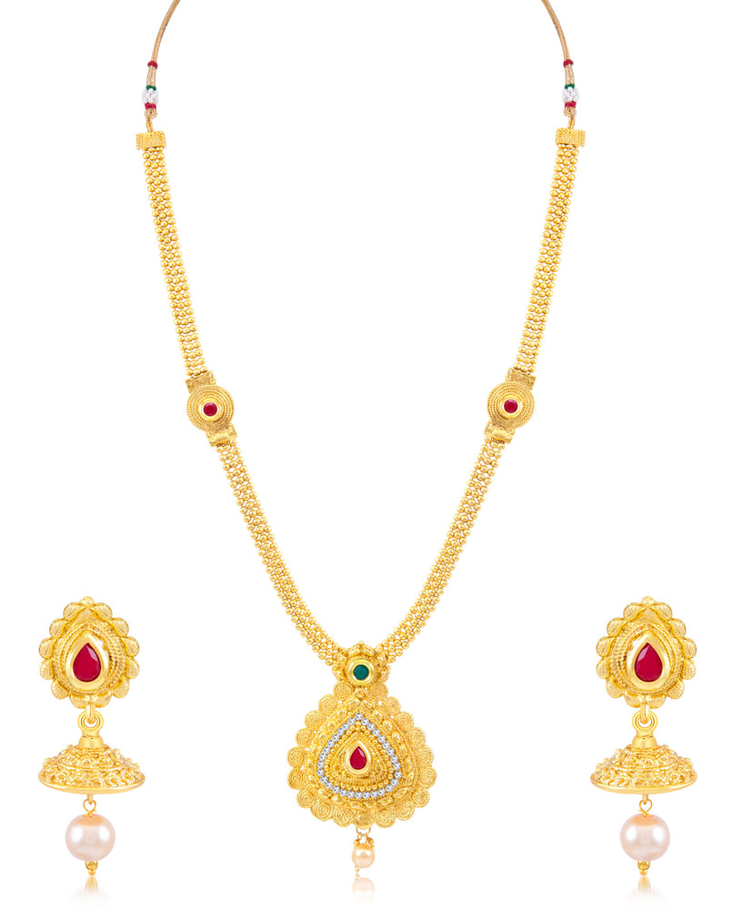 Sukkhi Traditional Jalebi Gold Plated Necklace Set for women
