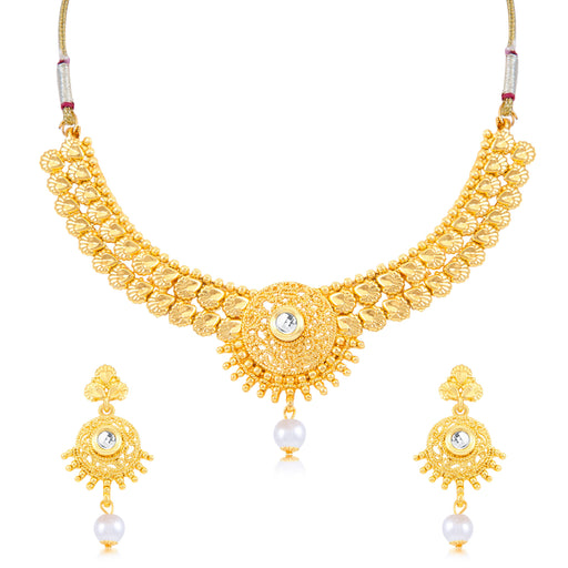 Sukkhi Resplendent Gold Plated Choker Necklace Set for women