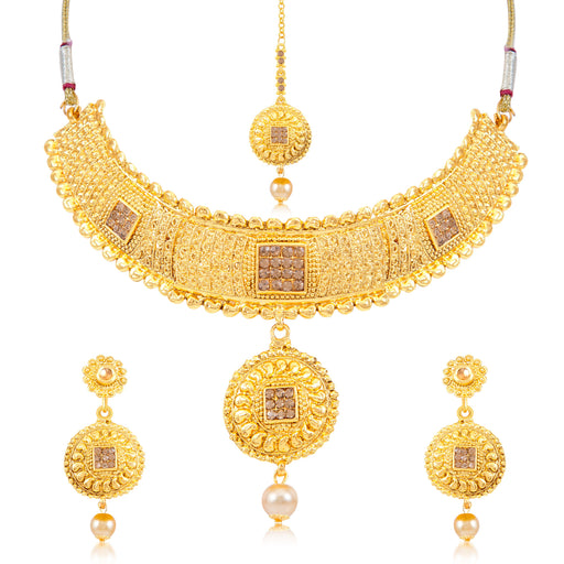 Sukkhi Graceful Gold Plated Choker Necklace Set for women