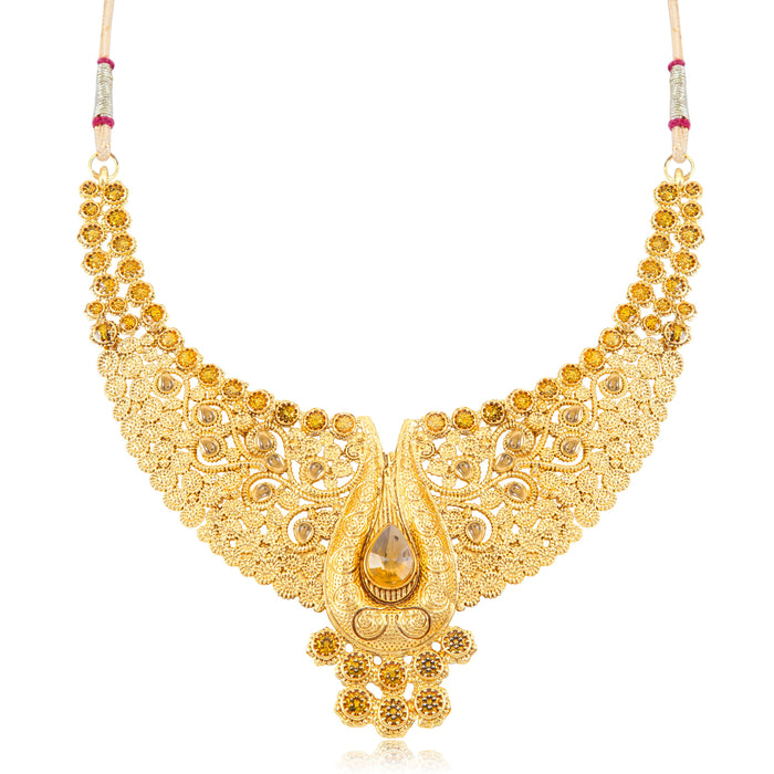 Sukkhi Dazzling Gold Plated Choker Necklace Set for women