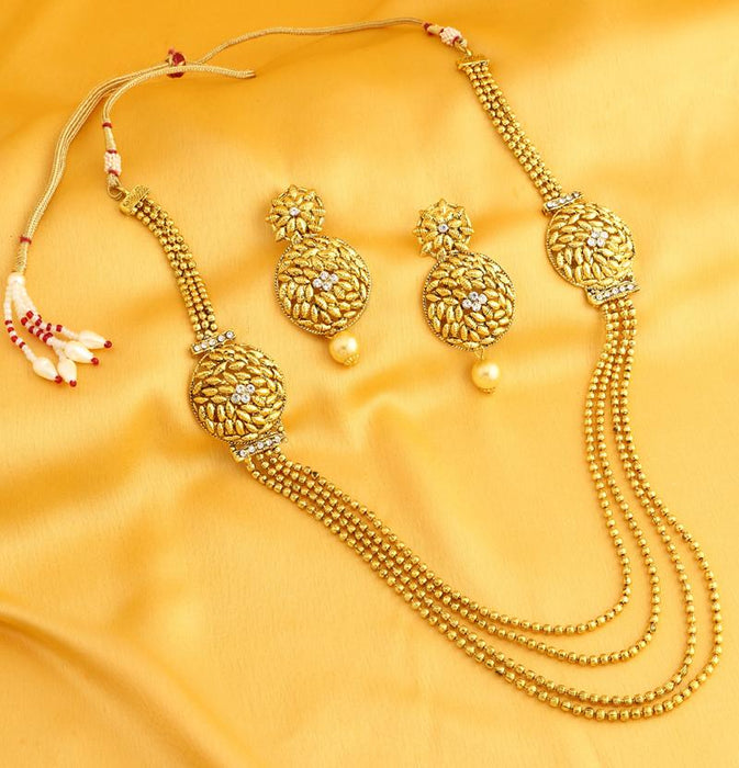 Sukkhi Resplendent 4 String Gold Plated necklace set for women