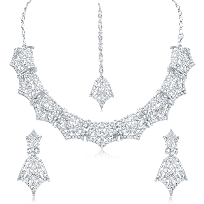 Sukkhi Delightly AD Rhodium Plated necklace set for women