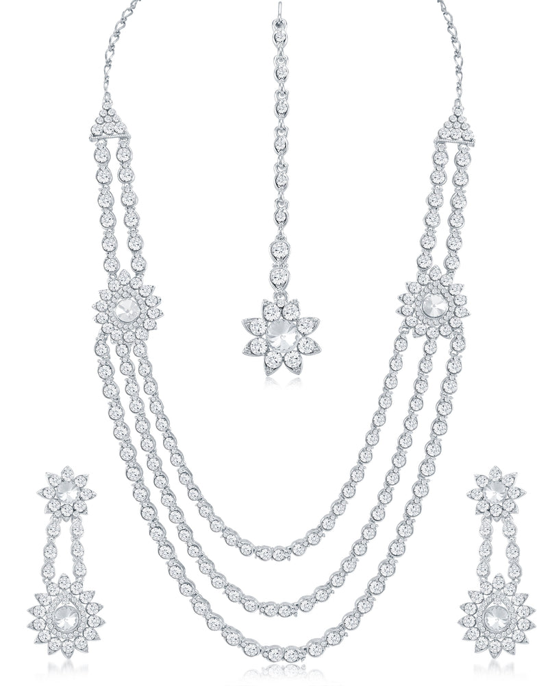 Sukkhi Resplendent 3 String AD Rhodium Plated necklace set for women