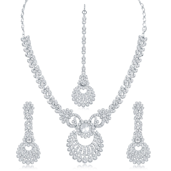 Sukkhi Attractive AD Rhodium Plated necklace set for women