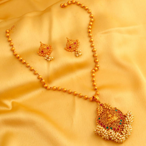 Sukkhi Classic Laxmi Design Gold Plated Necklace Set for women