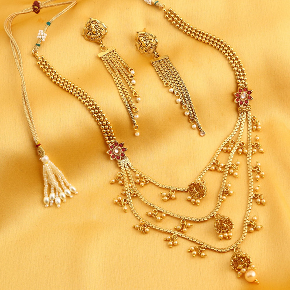 Sukkhi Moddish 3 String Gold Plated Necklace Set for women