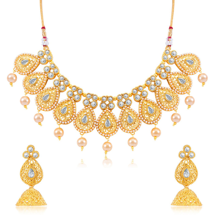 Sukkhi Traditional Drop Shaped Gold Plated Necklace Set for Women