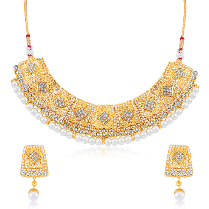 Sukkhi Wavy AD Gold Plated Choker Necklace Set for women