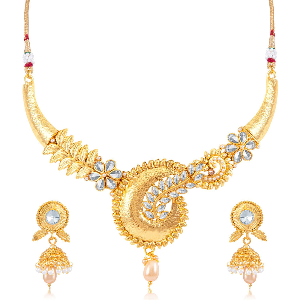 Sukkhi Ritz AD Gold Plated Choker Necklace Set for women