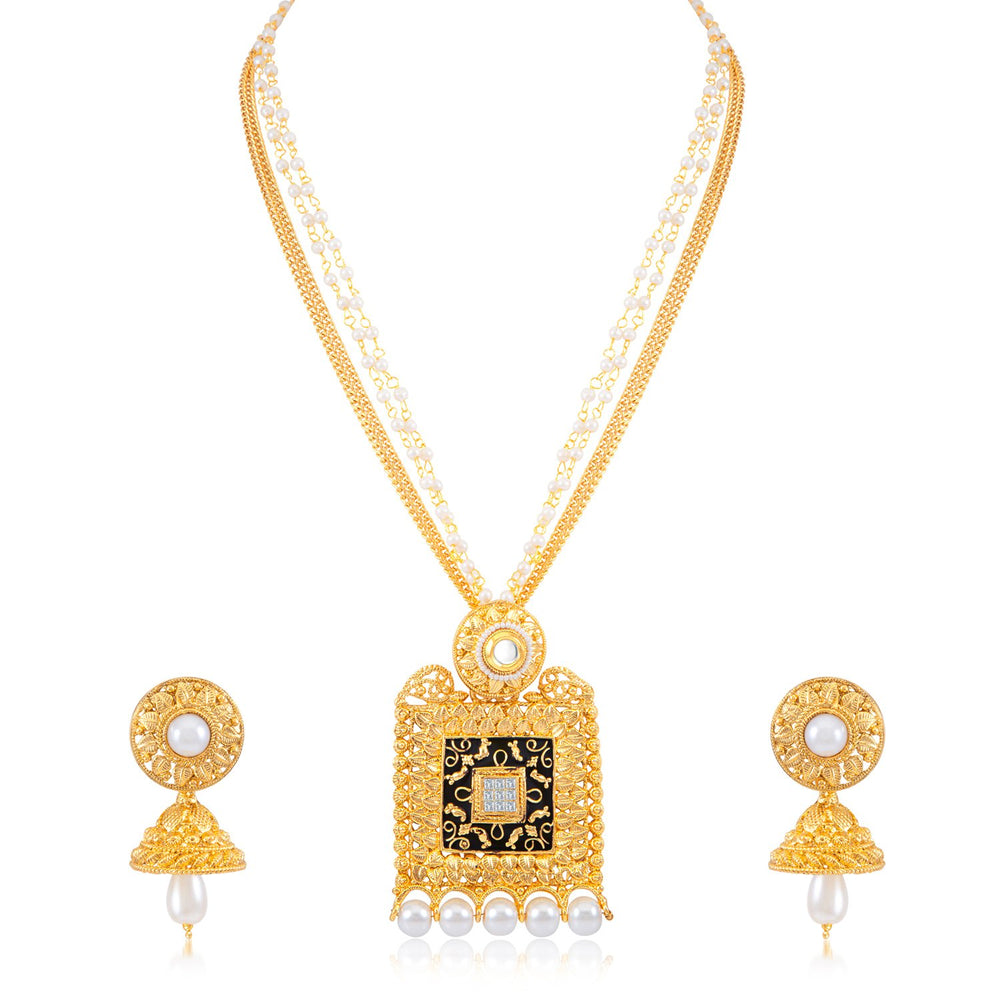 Sukkhi Stylish Square AD Gold Plated Necklace Set for women