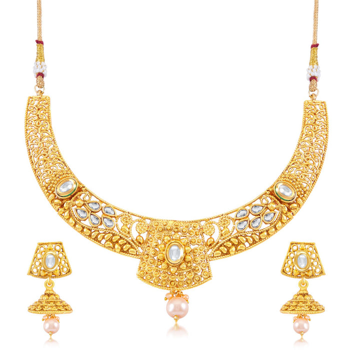 Sukkhi Sleek Gold Plated Choker Necklace Set for Women
