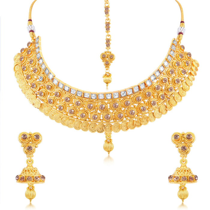 Sukkhi Astonish AD Gold Plated Choker Necklace Set for Women