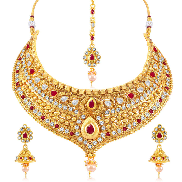 Sukkhi Traditional AD Gold Plated Choker Necklace Set for Women