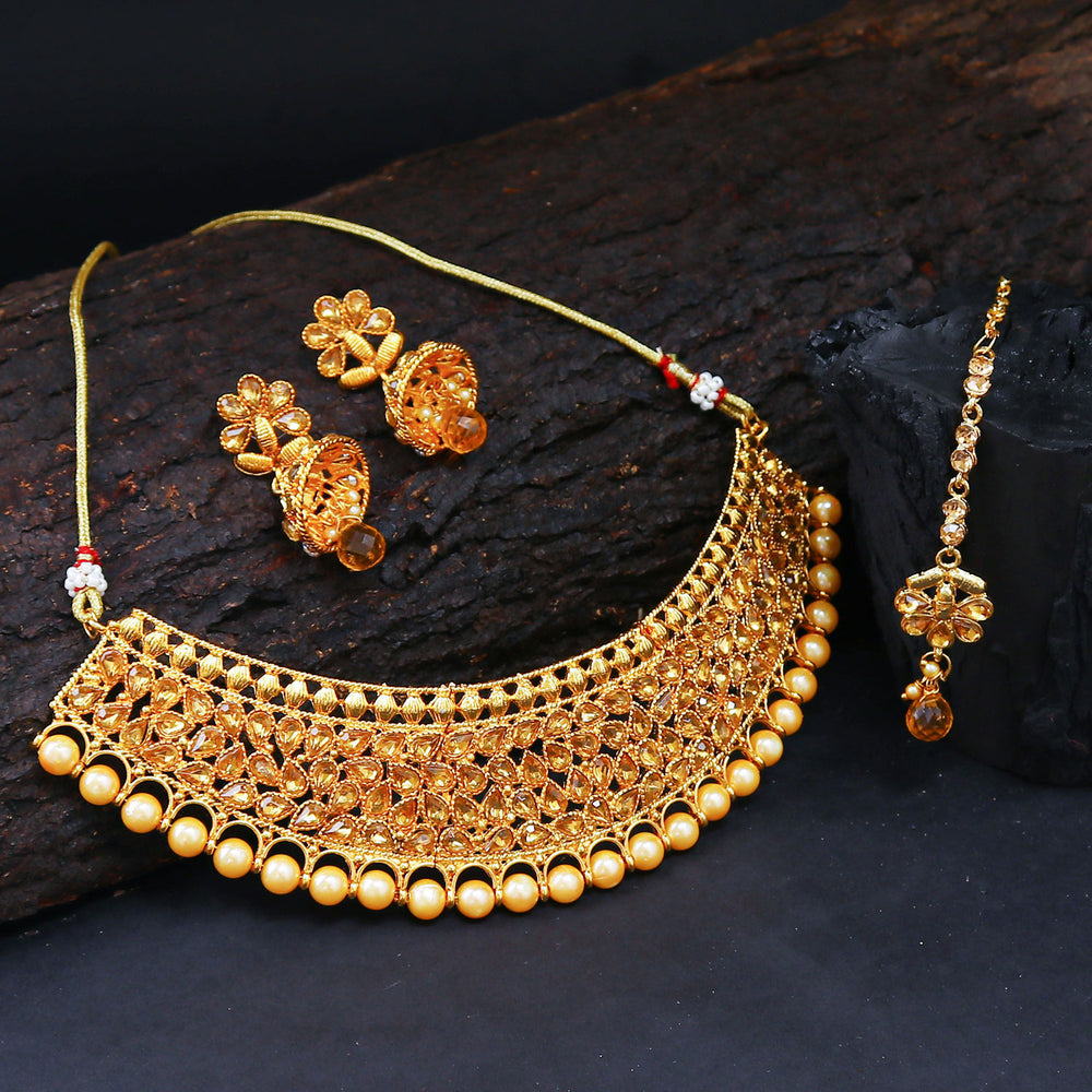 Sukkhi Modish Choker Gold Plated Necklace Set for Women