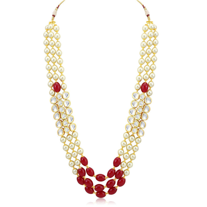 Sukkhi Fabulous Red Pearl Necklace Mala for women