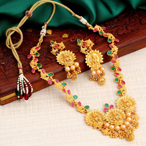 Sukkhi Ravishing Temple Lakshmi Gold Plated Necklace Set For Women