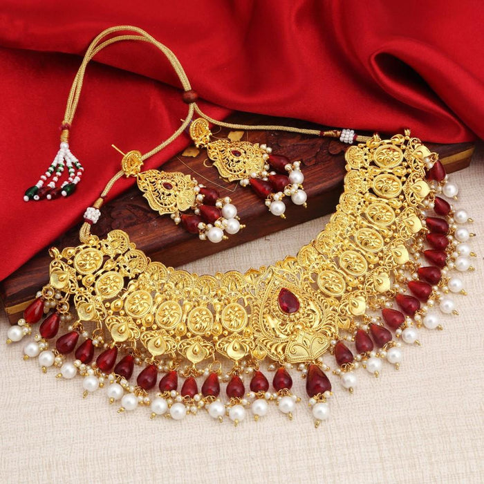 Sukkhi Ravishing Gold Plated Red And White Choker Necklace Set For Women