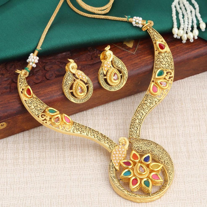 Sukkhi Classy Multicolour Gold Plated Peacock Necklace Set For Women