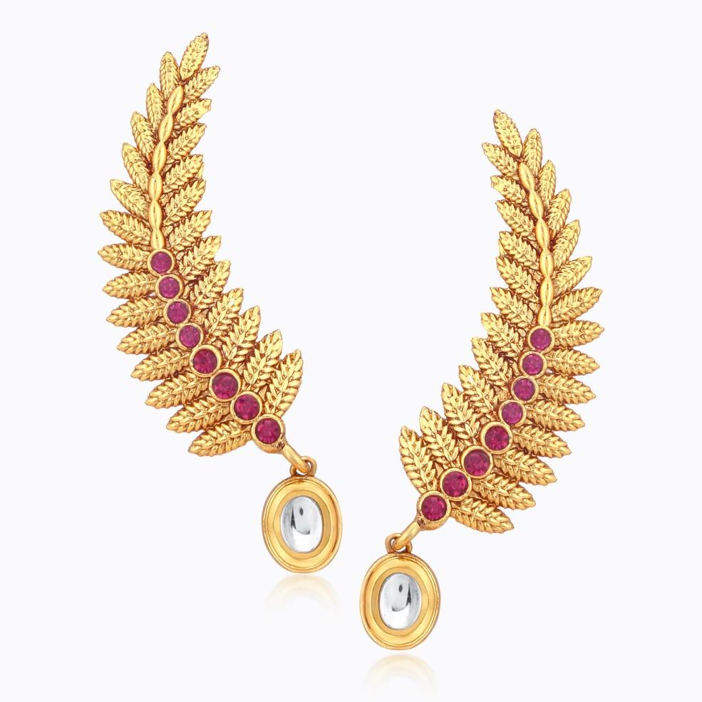 Sukkhi Fashionable Three String Metal Feather Gold Plated Necklace Set For Women