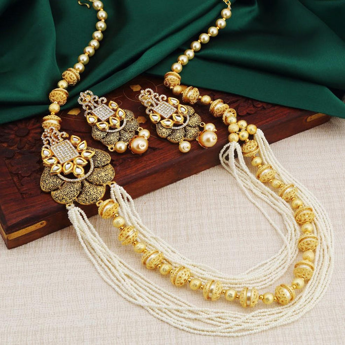 Sukkhi Astonishing Multi String Gold Plated Necklace Set For Women