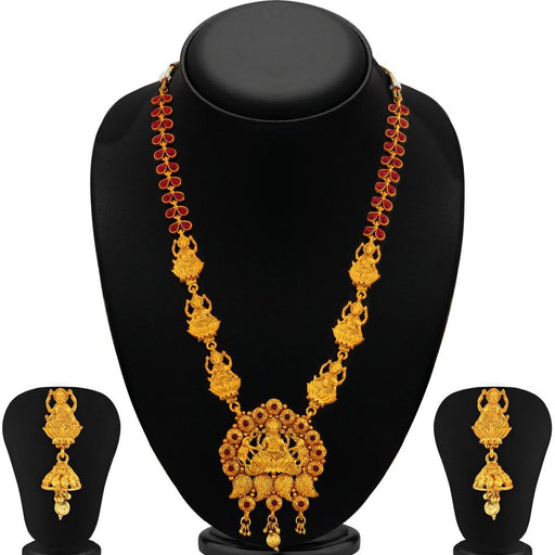 Sukkhi Brilliant Laxmi Temple Gold Plated Necklace Set For Women