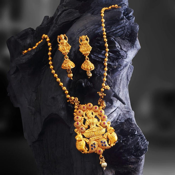 Sukkhi Cluster Elephant Lakshmi Gold Plated Necklace Set For Women