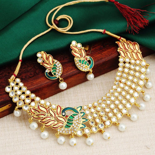 Sukkhi Brilliant Gold Plated Ad White Pearl Choker Necklace Set For Women