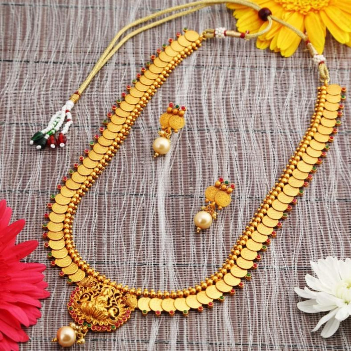 Sukkhi Traditional Gold Plated Temple Coin Necklace Set For Women