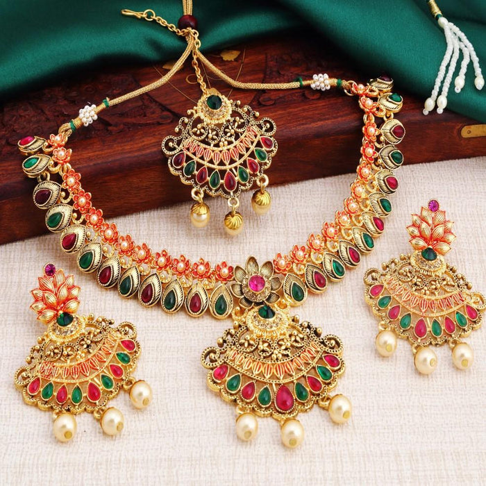 Sukkhi Delightly Gold Plated Red Green Stone Necklace Set For Women
