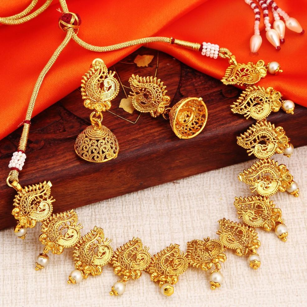 Sukkhi Astonish Gold Plated Peacock Necklace Set For Women