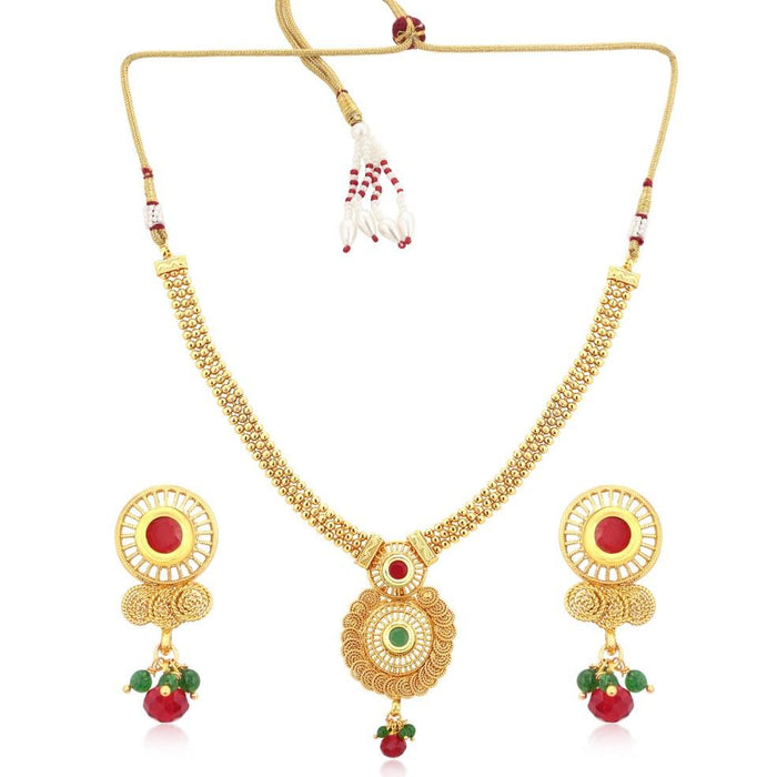 Sukkhi Incredible Gold Plated Jalebi Necklace Set For Women