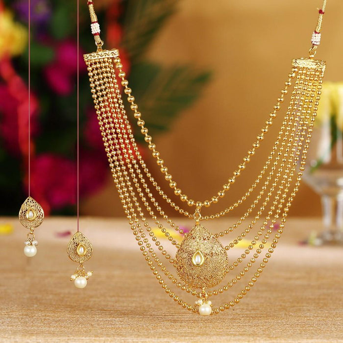 Sukkhi Graceful Gold Plated Seven String Necklace Set For Women