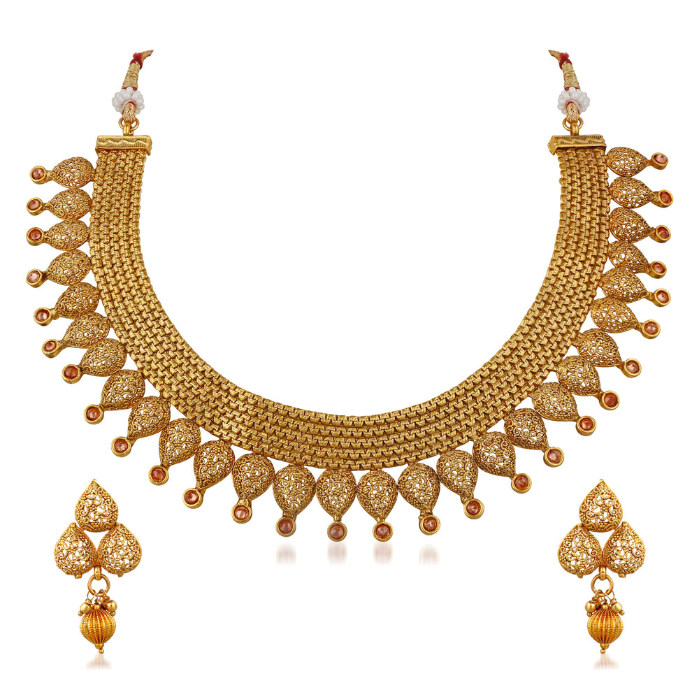 Trushi Ethnic Copper Gold Plated Designer Necklaces Set For Women