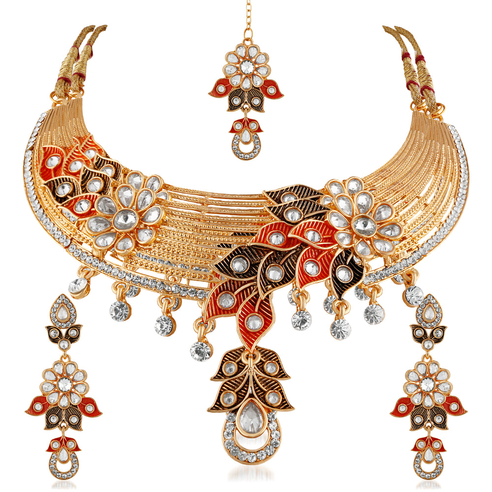 Trushi Flawless Antique Gold Plated Choker Designer Necklaces Set For Women