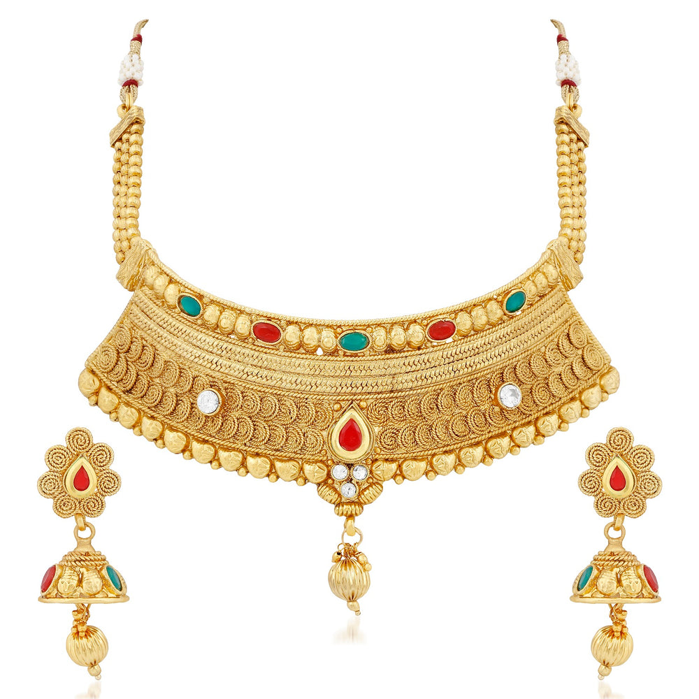 Trushi Adorable Gold Plated Jalebi Necklace Set For Women
